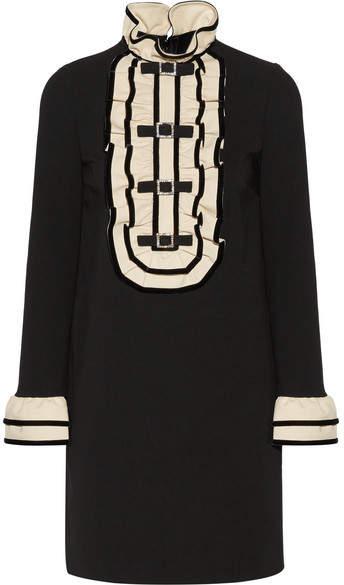 Gucci - Embellished Ruffled Stretch-cady Mini Dress - Black