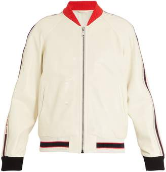 Gucci Logo-print perforated-leather bomber jacket