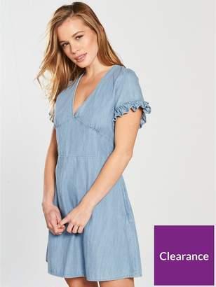 Miss Selfridge Petite Denim Tie Back Ruffle Sleeve Dress - Blue