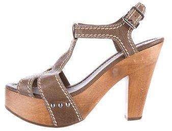 Miu MiuMiu Miu Leather Platform Sandals