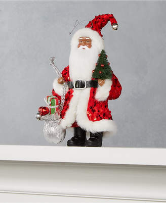 """Holiday Lane 8"""" African American Santa Ornament with Sequined Coat, Gifts & Tree"""