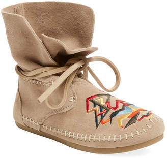 Toms Women's Zahara Embroidered Moccasin Suede Bootie