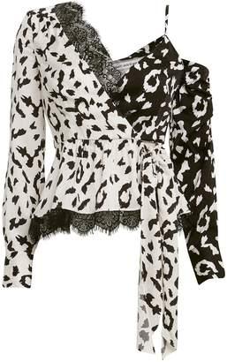 Self-Portrait Self Portrait Crepe Leopard Print Wrap Top