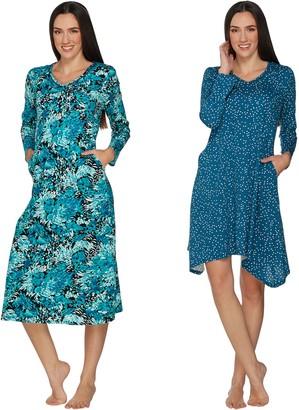 Carole Hochman Petals & Dots Cotton Gown and Sleepshirt Set