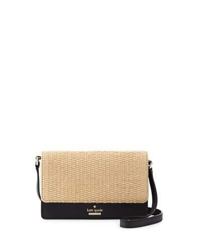 Kate SpadeKate Spade New York Cameron Street Arielle Straw Crossbody Bag, Black/Natural