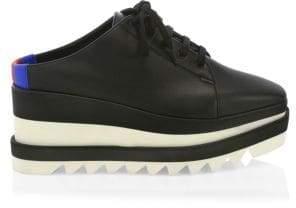 Stella McCartney Elyse Leather Platform Wedge Sneaker Mules