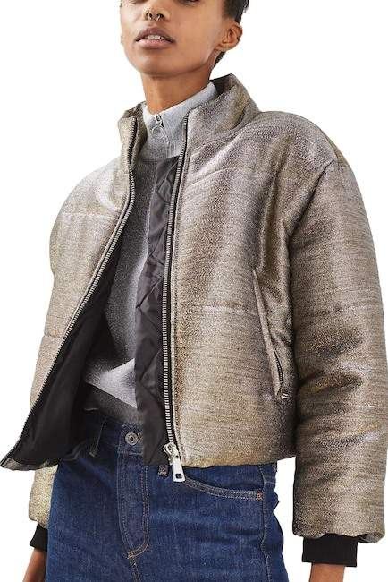 TopshopTOPSHOP Metallic Puffer Jacket