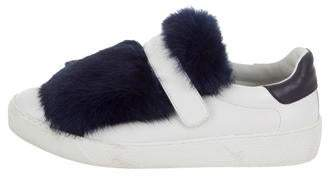 Moncler Leather Fox-Trimmed Sneakers