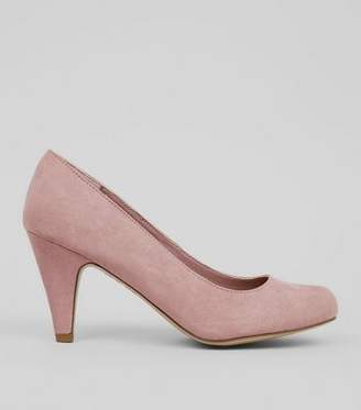 New Look Extra Wide Fit Pink Suedette Court Shoes