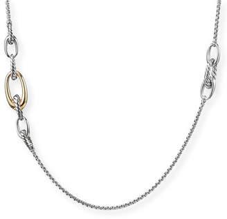 David Yurman Pure Form 2-Tone Graduated Link Station Necklace