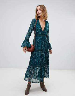 Moon River three quarter bell sleeve maxi dress