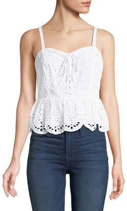 Cupcakes And Cashmere Beverli Lace-Up Eyelet Top