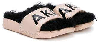 Akid furry branded slides