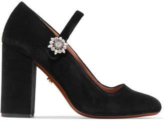 ALEXACHUNG Crystal-embellished Velvet Pumps - Black