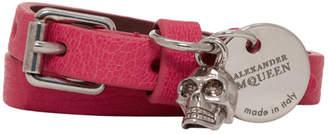 Alexander McQueen Pink Double Strap Skull Bracelet