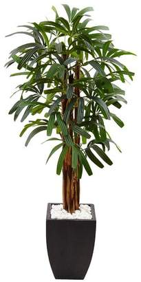 Bloomsbury Market Artificial Raphis Floor Palm Tree in Stone Planter