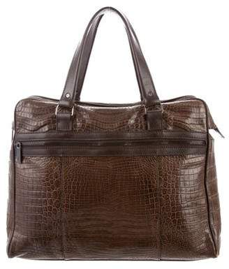 Calvin Klein Metallic Embossed Leather Shoulder Bag