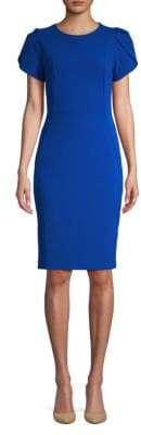 Calvin Klein Short Sleeve Crepe Sheath Dress