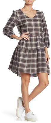 Angie Plaid V-neck Babydoll Dress