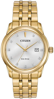 Citizen Eco-Drive Mens Gold Tone Watch With Diamond Accents Bm7342-50A
