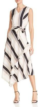 Calvin Klein Striped Sleeveless Midi Dress