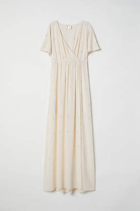H&M Wrap Dress with Embroidery - Beige