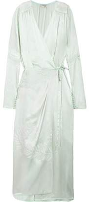 ATTICO Gabriela Embroidered Silk-Satin Wrap Dress