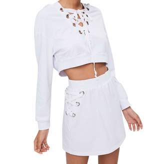 OVERMAL_Suits Womens Lace Up Long Sleeve Hoodie Sweatshirt Pullover Tops Blouse+Skirt Set