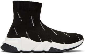 Balenciaga Black All-Over Logo Speed High-Top Sneakers