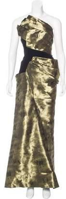 Bibhu Mohapatra Pleated Metallic Gown