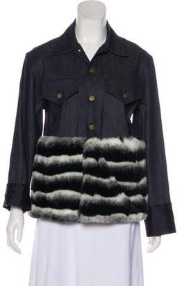 Harvey Faircloth Faux Fur-Trimmed Denim Jacket
