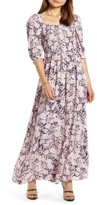 Nordstrom Something Navy Smocked Maxi Dress Exclusive)