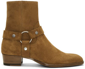 Saint Laurent Tan Suede Wyatt Harness Boots