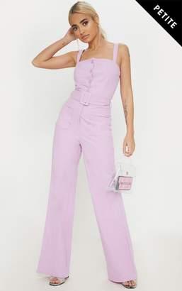 234edac790a PrettyLittleThing Petite Lilac Wide Leg Square Pocket Button Jumpsuit