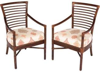 McGuire Furniture Pair of Rattan & Wood Armchairs