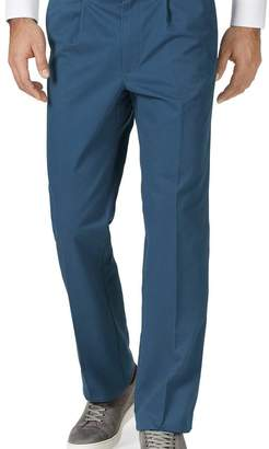 Charles Tyrwhitt Bright blue classic fit single pleat washed chinos