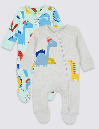 Marks and Spencer 2 Pack Zip Through Dinosaurs Sleepsuits