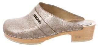 Chanel Metallic Leather Clogs