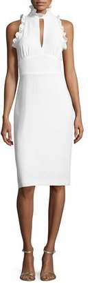 Shoshanna Sleeveless Crepe Mock-Neck Cocktail Dress, Ivory $385 thestylecure.com