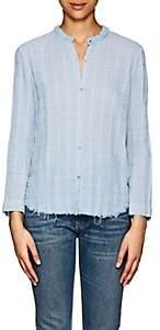 Raquel Allegra Women's Geometric Cotton Blouse - Lt. Blue
