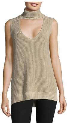BCBGeneration Women's Ribbed Cutout Top