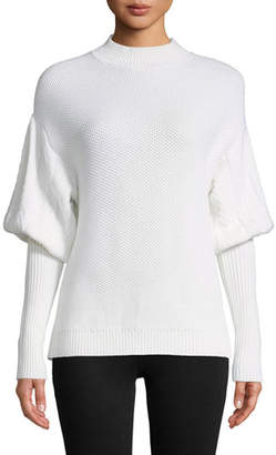 Jonathan Simkhai Tassel Knit Wool Puff-Sleeve Sweater
