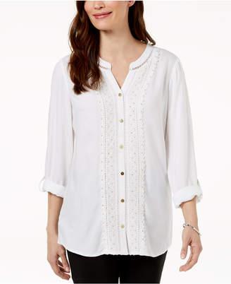 bb20321022576 ... JM Collection Petite Embellished Crochet-Front Shirt