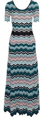 Sandro Rone Striped Ribbed-Knit Maxi Dress