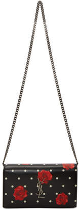 Saint Laurent Black Roses and Polka Dot Chain Wallet Bag