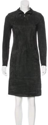 Akris Leather Knee-Length Dress