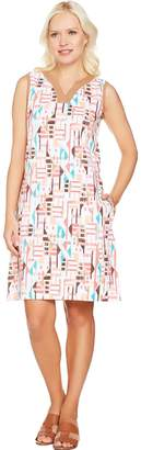 Denim & Co. Beach Knit Sleeveless Printed Dress