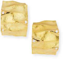 Dune Vendorafa Textured 18K Yellow Gold Huggie Earrings with White Diamonds
