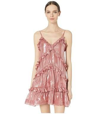Rebecca Taylor Metallic Chiffon Ruffle Dress