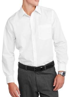 George Men's Slim Fit Long Sleeve Solid Poplin Dress Shirt